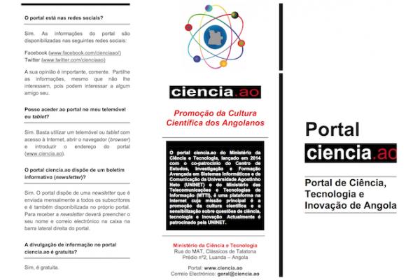Conheça o Portal Ciencia.ao. Baixe e Partilhe o seu Folheto Informativo.